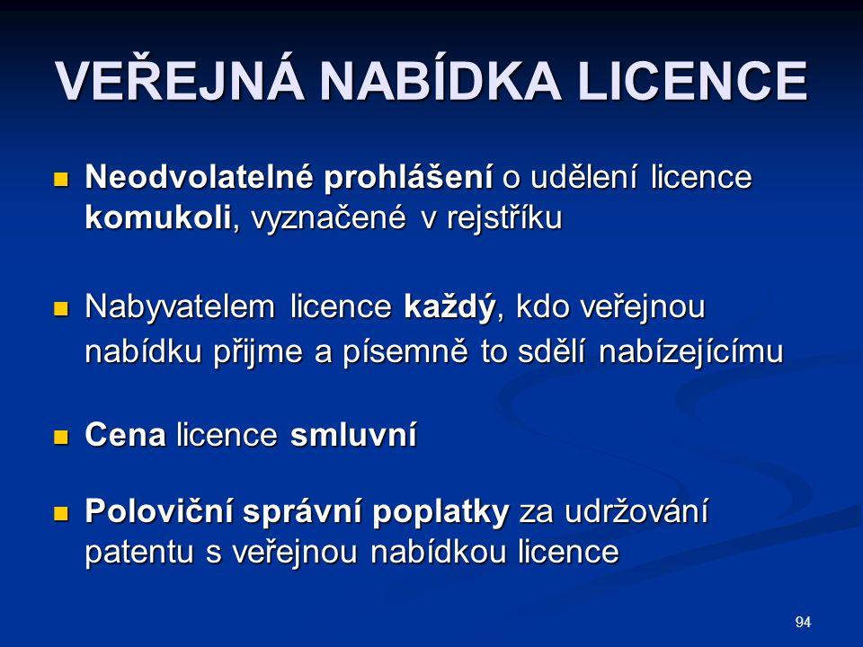 94 VEŘEJNÁ NABÍDKA LICENCE Neodvolatelné prohlášení o udělení licence komukoli, vyznačené v rejstříku Neodvolatelné prohlášení o udělení licence komukoli, vyznačené v rejstříku Nabyvatelem licence každý, kdo veřejnou nabídku přijme a písemně to sdělí nabízejícímu Nabyvatelem licence každý, kdo veřejnou nabídku přijme a písemně to sdělí nabízejícímu Cena licence smluvní Cena licence smluvní Poloviční správní poplatky za udržování patentu s veřejnou nabídkou licence Poloviční správní poplatky za udržování patentu s veřejnou nabídkou licence