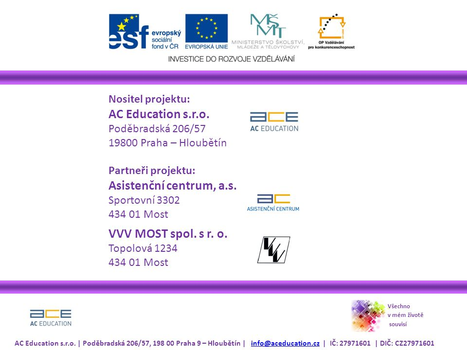 Nositel projektu: AC Education s.r.o.