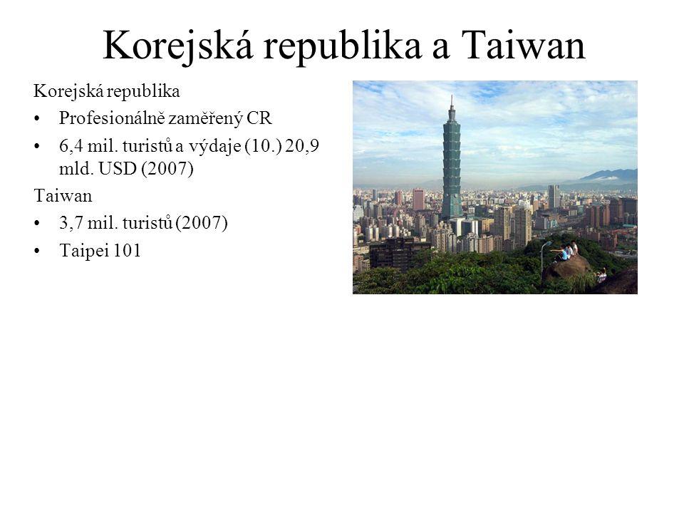 Korejská republika a Taiwan Korejská republika Profesionálně zaměřený CR 6,4 mil. turistů a výdaje (10.) 20,9 mld. USD (2007) Taiwan 3,7 mil. turistů