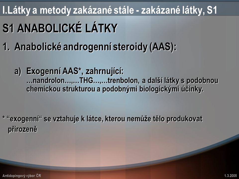 Antidopingový výbor ČR1.3.2005 S1 ANABOLICKÉ LÁTKY I.Látky a metody zakázané stále - zakázané látky, S1 1.Anabolické androgenní steroidy (AAS): a)Exog