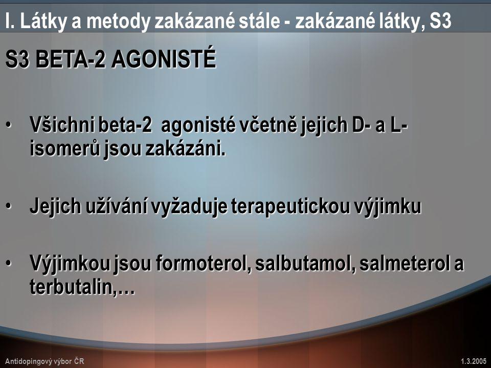 Antidopingový výbor ČR1.3.2005 I. Látky a metody zakázané stále - zakázané látky, S3 S3 BETA-2 AGONISTÉ Všichni beta-2 agonisté včetně jejich D- a L-