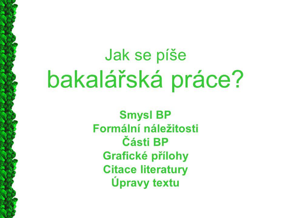 Jak se píše bakalářská práce? Smysl BP Formální náležitosti Části BP Grafické přílohy Citace literatury Úpravy textu