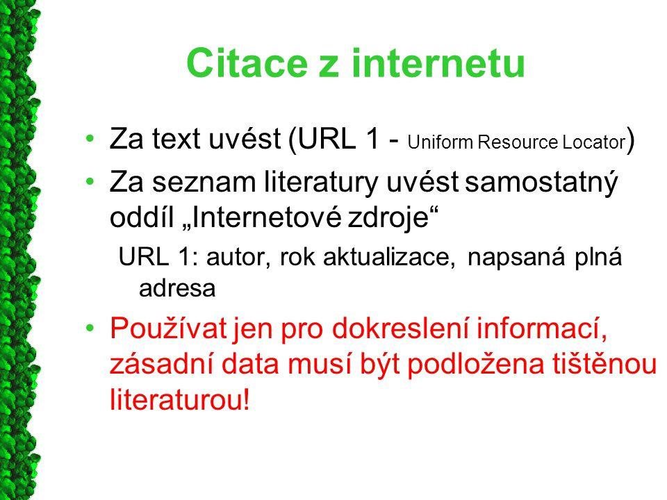 """Citace z internetu Za text uvést (URL 1 - Uniform Resource Locator ) Za seznam literatury uvést samostatný oddíl """"Internetové zdroje"""" URL 1: autor, ro"""