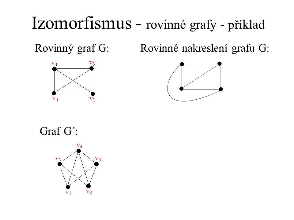 Izomorfismus - rovinné grafy - příklad Rovinný graf G:Rovinné nakreslení grafu G: Graf G´: