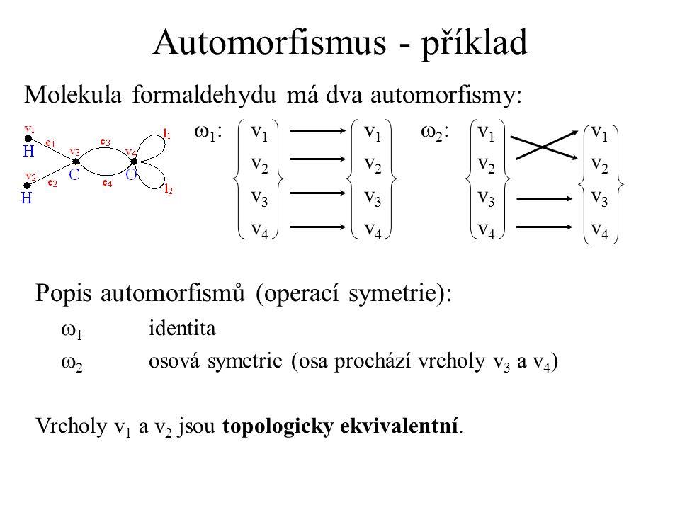 Automorfismus - příklad Molekula formaldehydu má dva automorfismy:  1 :v 1 v 1  2 :v 1 v 1 v 2 v 2 v 3 v 3 v 4 v 4 Popis automorfismů (operací symetrie):  1 identita  2 osová symetrie (osa prochází vrcholy v 3 a v 4 ) Vrcholy v 1 a v 2 jsou topologicky ekvivalentní.