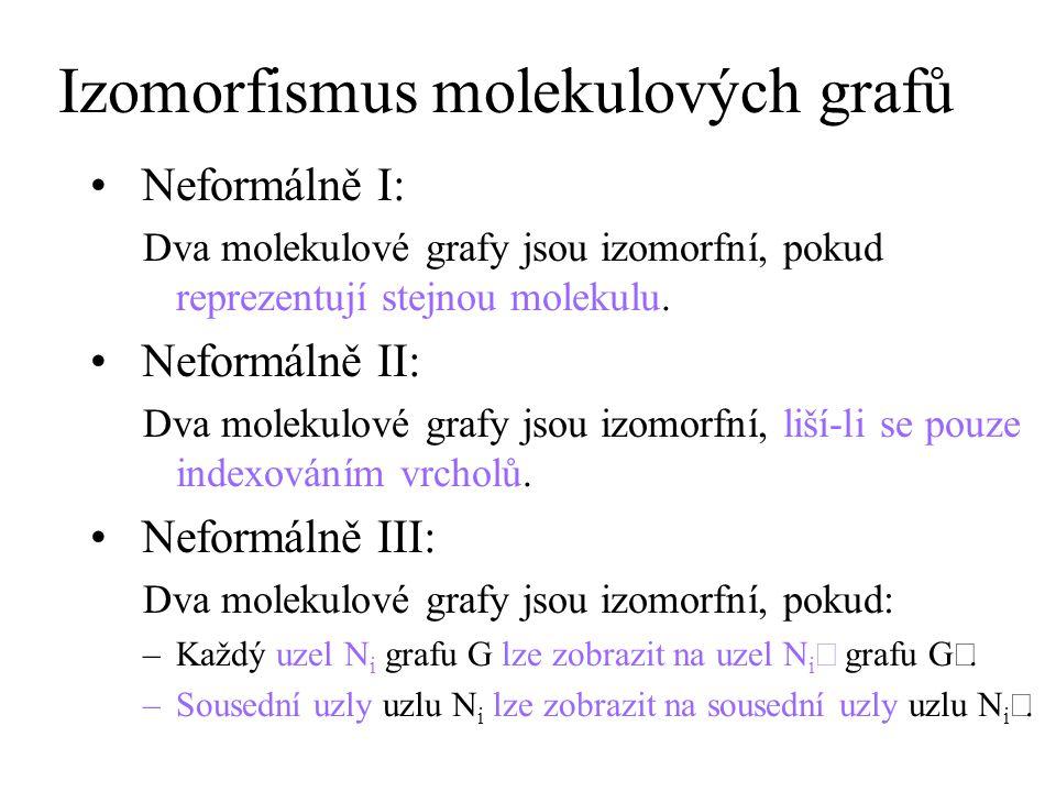 Izomorfismus molekulových grafů Formálně: Grafy G = (V, E, L, ,  ) a G = (V, E, L, ,  ) jsou izomorfní, pokud existuje bijektivní zobrazení (permutace) f: V  V s následujícími vlastnostmi: –pokud uzly u, v  V tvoří n hran {u, v} grafu G, pak uzly f(u), f(v)  V tvoří n hran {f(u), f(v)} grafu G –pokud uzel u  V tvoří n smyček {u, u} grafu G, pak uzel f(u)  V tvoří n smyček {f(u), f(u)} grafu G –zobrazení f zachovává ohodnocení vrcholů:  (u) =  (f(u)) pro každé u  V Vztah mezi izomorfismem a izomerií: Molekuly M 1 a M 2 jsou izomorfní => M 1 a M 2 jsou izomerní.