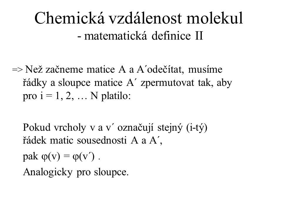 Chemická vzdálenost molekul - matematická definice II => Než začneme matice A a A´odečítat, musíme řádky a sloupce matice A´ zpermutovat tak, aby pro i = 1, 2, … N platilo: Pokud vrcholy v a v´ označují stejný (i-tý) řádek matic sousednosti A a A´, pak  (v) =  (v´).