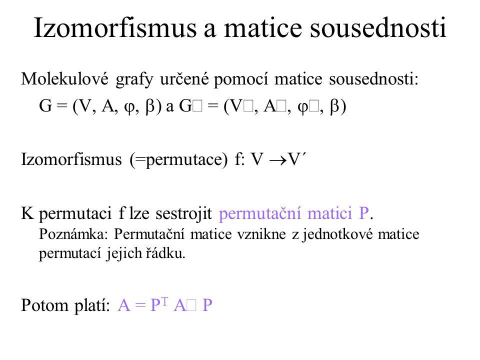 Izomorfismus a matice sousednosti Molekulové grafy určené pomocí matice sousednosti: G = (V, A, ,  ) a G = (V, A, ,  ) Izomorfismus (=permutace) f: V  V´ K permutaci f lze sestrojit permutační matici P.