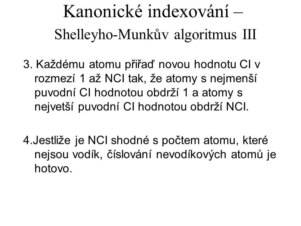 Kanonické indexování – Shelleyho-Munkův algoritmus III 3.