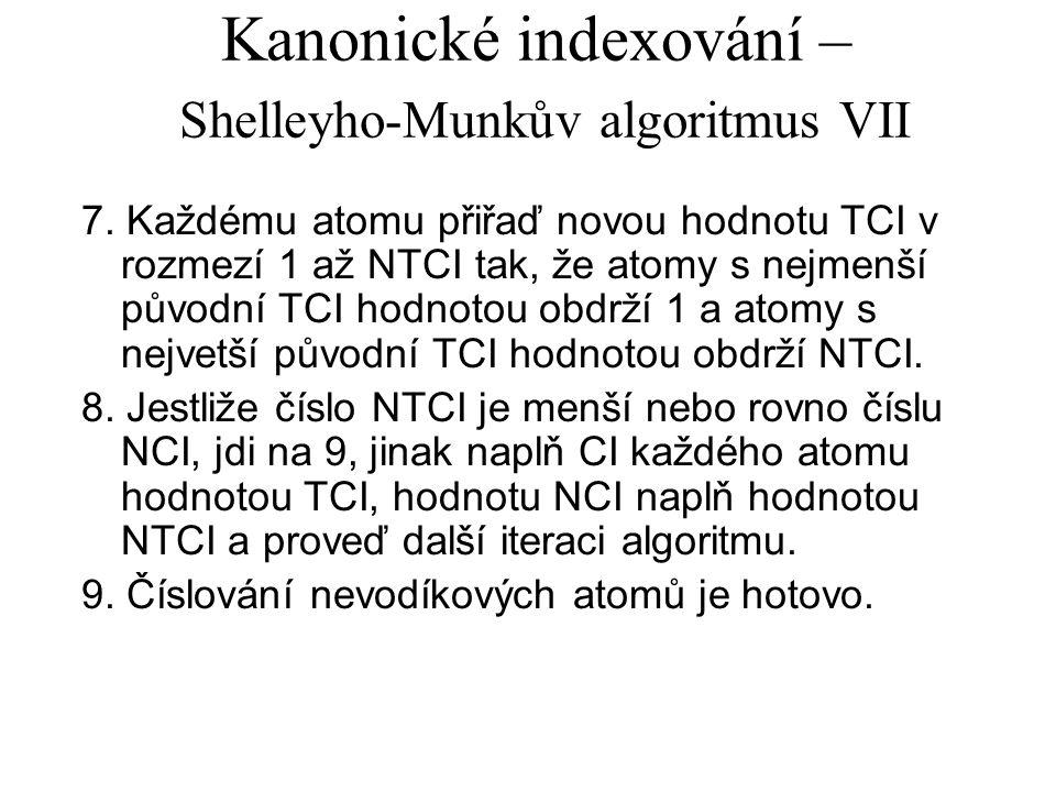 Kanonické indexování – Shelleyho-Munkův algoritmus VII 7.