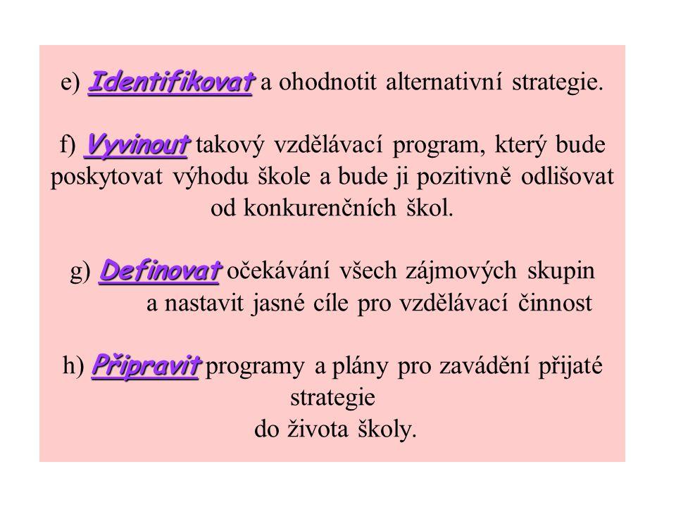 Identifikovat Vyvinout Definovat Připravit e) Identifikovat a ohodnotit alternativní strategie.