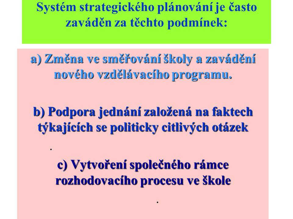 Systém strategického plánování je často zaváděn za těchto podmínek: a) Změna ve směřování školy a zavádění nového vzdělávacího programu.