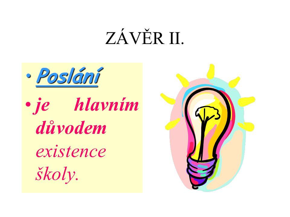 ZÁVĚR II. PosláníPoslání je hlavním důvodem existence školy.