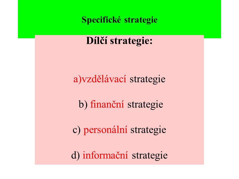 Specifické strategie Dílčí strategie: a)vzdělávací strategie b) finanční strategie c) personální strategie d) informační strategie