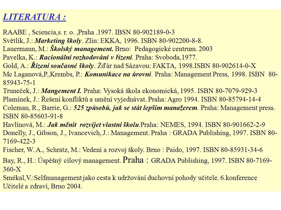 LITERATURA : RAABE, Sciencia,s. r. o.,Praha.1997.