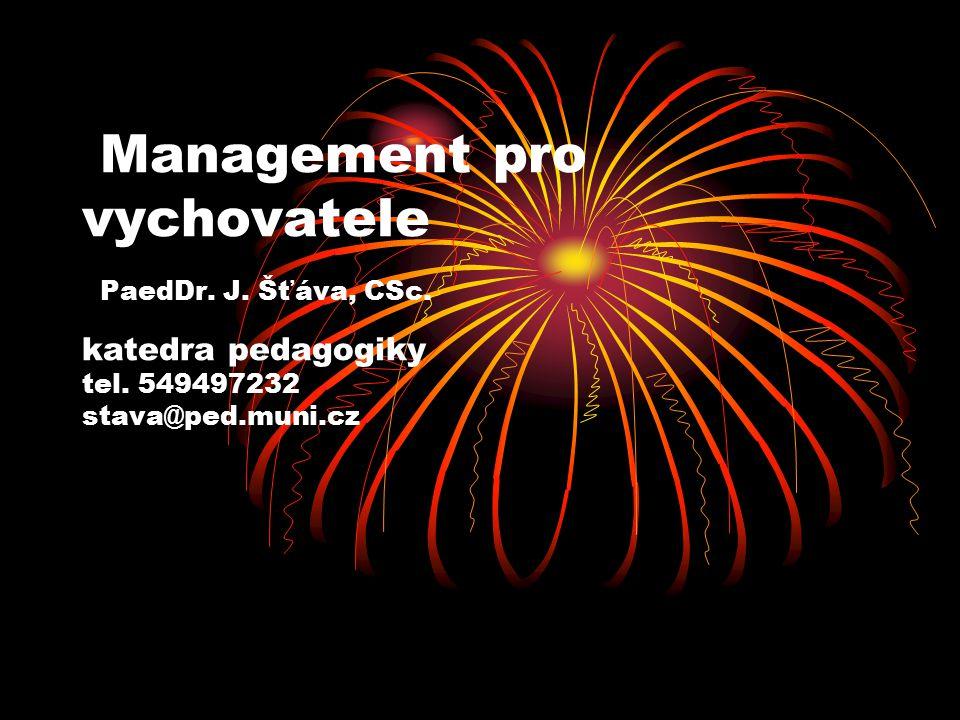 Management pro vychovatele PaedDr. J. Šťáva, CSc. katedra pedagogiky tel. 549497232 stava@ped.muni.cz