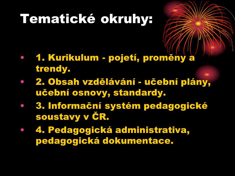 Tematické okruhy: 1. Kurikulum - pojetí, proměny a trendy. 2. Obsah vzdělávání - učební plány, učební osnovy, standardy. 3. Informační systém pedagogi