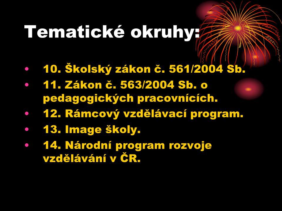 Tematické okruhy: 10. Školský zákon č. 561/2004 Sb. 11. Zákon č. 563/2004 Sb. o pedagogických pracovnících. 12. Rámcový vzdělávací program. 13. Image