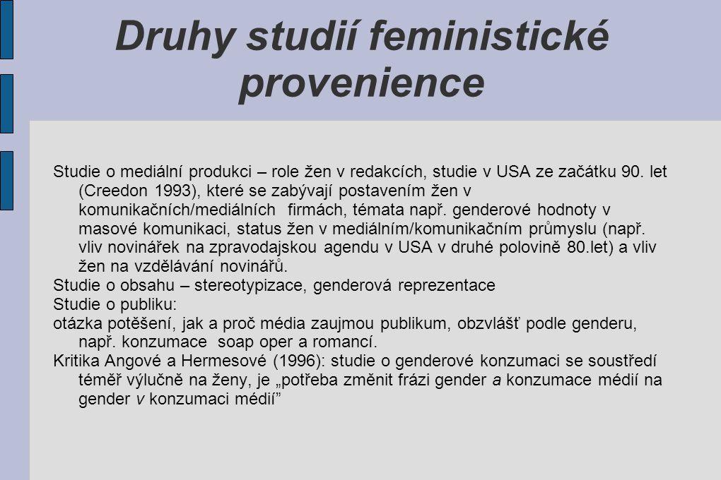 Druhy studií feministické provenience Studie o mediální produkci – role žen v redakcích, studie v USA ze začátku 90. let (Creedon 1993), které se zabý