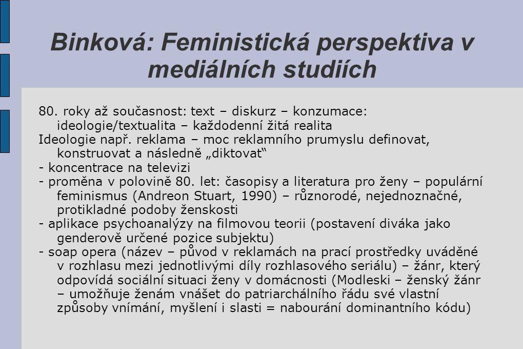 Binková: Feministická perspektiva v mediálních studiích 80. roky až současnost: text – diskurz – konzumace: ideologie/textualita – každodenní žitá rea