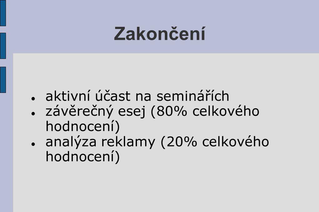 Zakončení aktivní účast na seminářích závěrečný esej (80% celkového hodnocení) analýza reklamy (20% celkového hodnocení)