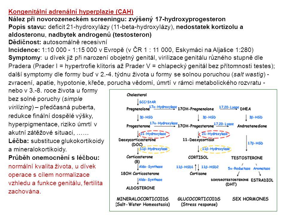 Kongenitální adrenální hyperplazie (CAH) Nález při novorozeneckém screeningu: zvýšený 17-hydroxyprogesteron Popis stavu: deficit 21-hydroxylázy (11-be