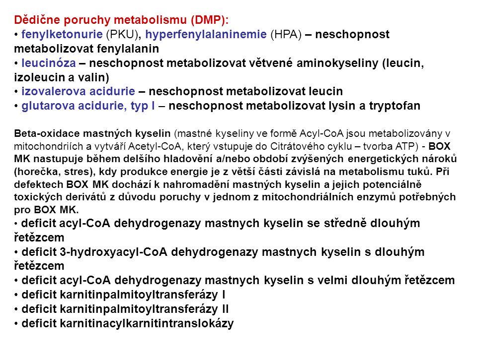 Dědične poruchy metabolismu (DMP): fenylketonurie (PKU), hyperfenylalaninemie (HPA) – neschopnost metabolizovat fenylalanin leucinóza – neschopnost me