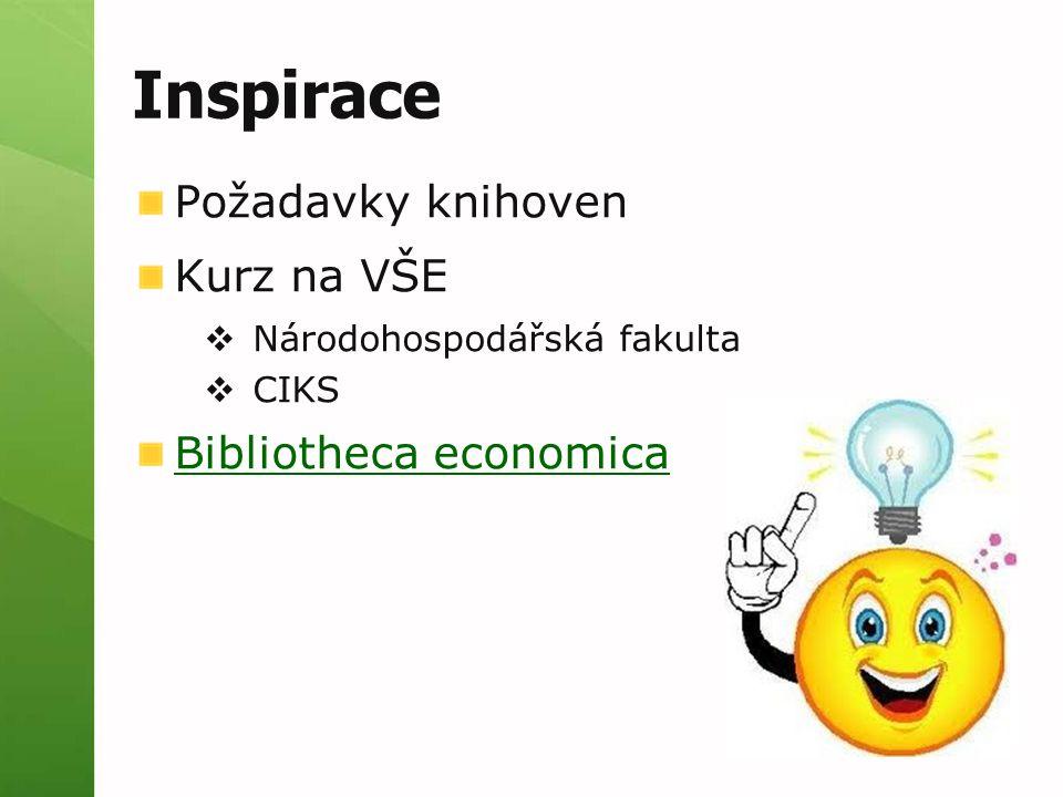 Inspirace Požadavky knihoven Kurz na VŠE  Národohospodářská fakulta  CIKS Bibliotheca economica