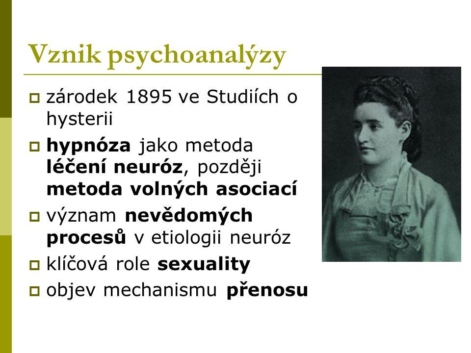 Vznik psychoanalýzy  zárodek 1895 ve Studiích o hysterii  hypnóza jako metoda léčení neuróz, později metoda volných asociací  význam nevědomých pro