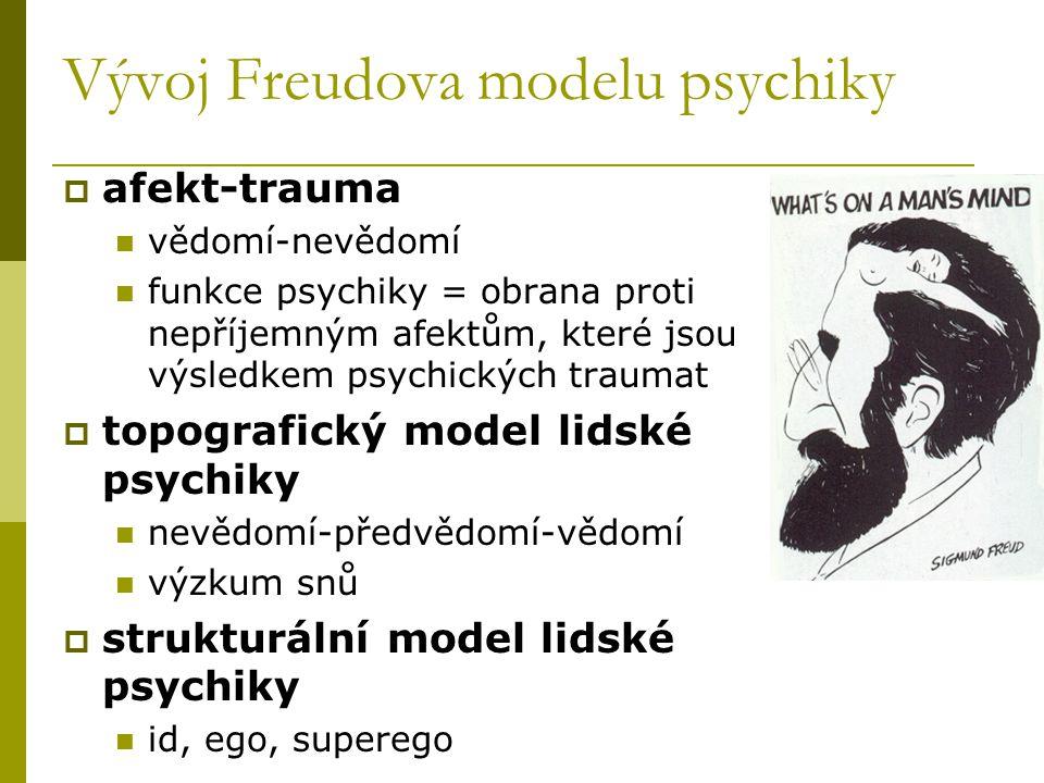 Vývoj Freudova modelu psychiky  afekt-trauma vědomí-nevědomí funkce psychiky = obrana proti nepříjemným afektům, které jsou výsledkem psychických tra