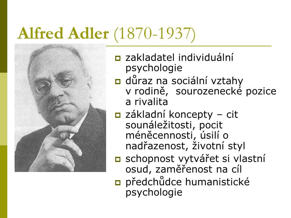 Alfred Adler (1870-1937)  zakladatel individuální psychologie  důraz na sociální vztahy v rodině, sourozenecké pozice a rivalita  základní koncepty