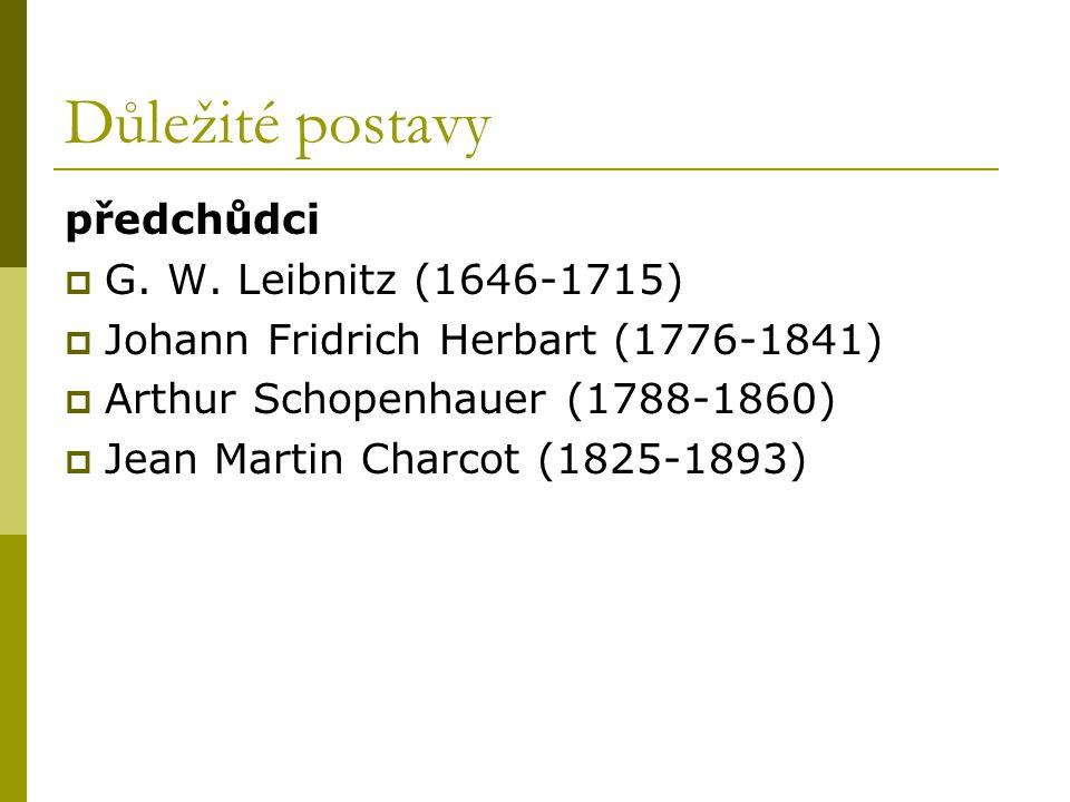 Důležité postavy předchůdci  G. W. Leibnitz (1646-1715)  Johann Fridrich Herbart (1776-1841)  Arthur Schopenhauer (1788-1860)  Jean Martin Charcot