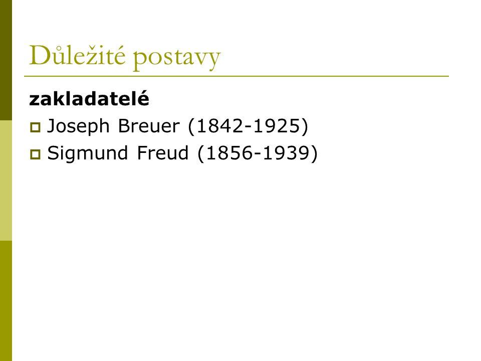 Důležité postavy zakladatelé  Joseph Breuer (1842-1925)  Sigmund Freud (1856-1939)