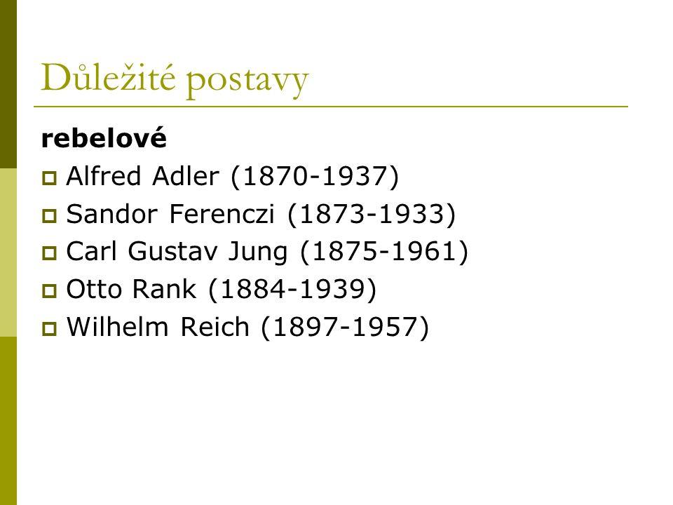 Důležité postavy rebelové  Alfred Adler (1870-1937)  Sandor Ferenczi (1873-1933)  Carl Gustav Jung (1875-1961)  Otto Rank (1884-1939)  Wilhelm Re