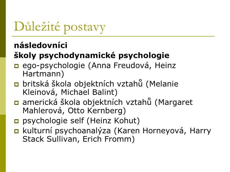 Důležité postavy následovníci školy psychodynamické psychologie  ego-psychologie (Anna Freudová, Heinz Hartmann)  britská škola objektních vztahů (M
