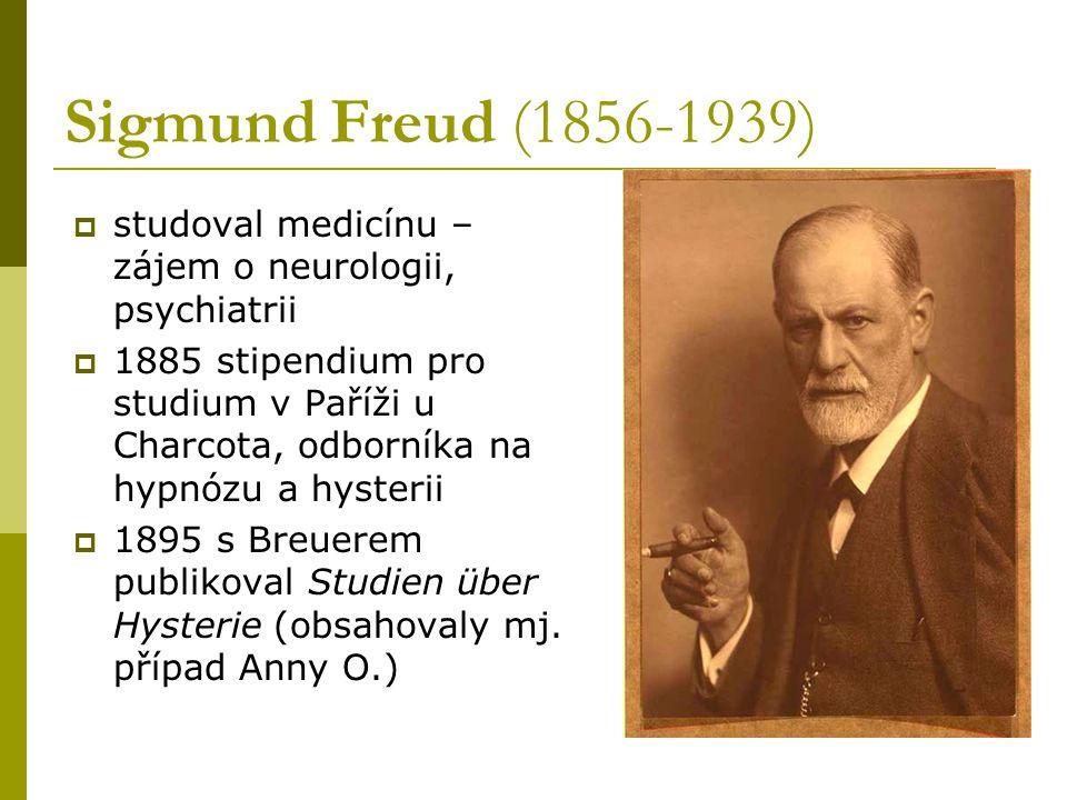 Sigmund Freud (1856-1939)  studoval medicínu – zájem o neurologii, psychiatrii  1885 stipendium pro studium v Paříži u Charcota, odborníka na hypnóz