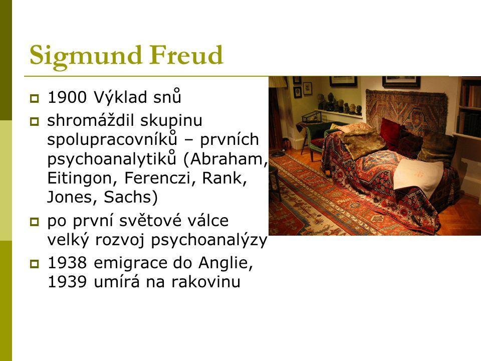 Sigmund Freud  1900 Výklad snů  shromáždil skupinu spolupracovníků – prvních psychoanalytiků (Abraham, Eitingon, Ferenczi, Rank, Jones, Sachs)  po