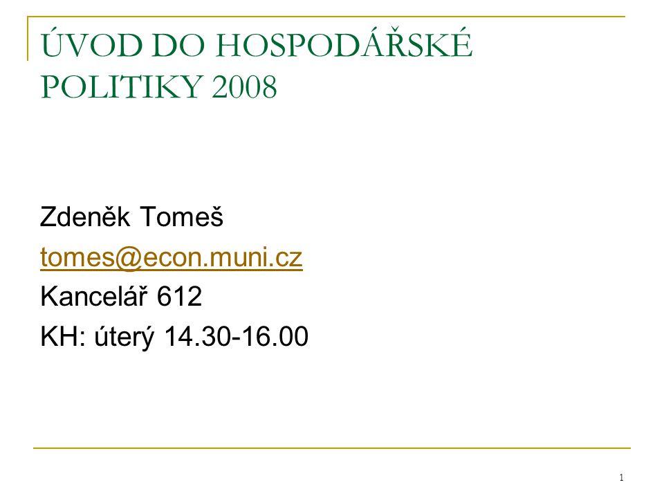 1 ÚVOD DO HOSPODÁŘSKÉ POLITIKY 2008 Zdeněk Tomeš tomes@econ.muni.cz Kancelář 612 KH: úterý 14.30-16.00