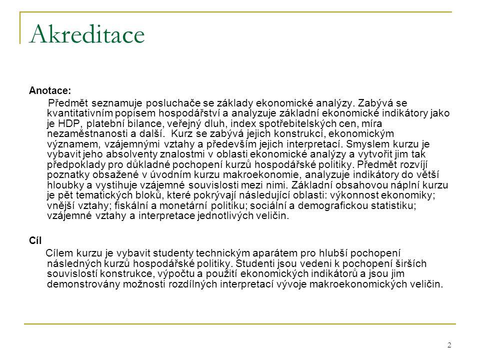 2 Akreditace Anotace: Předmět seznamuje posluchače se základy ekonomické analýzy.