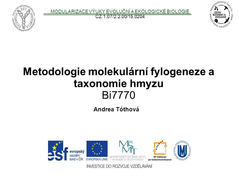 Metodologie molekulární fylogeneze a taxonomie hmyzu Bi7770 MODULARIZACE VÝUKY EVOLUČNÍ A EKOLOGICKÉ BIOLOGIE CZ.1.07/2.2.00/15.0204 Andrea Tóthová
