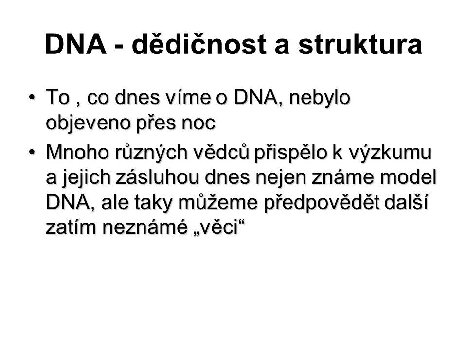 DNA - dědičnost a struktura To, co dnes víme o DNA, nebylo objeveno přes nocTo, co dnes víme o DNA, nebylo objeveno přes noc Mnoho různých vědců přisp