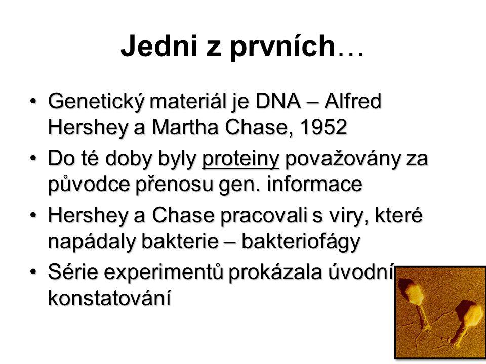 Jedni z prvních… Genetický materiál je DNA – Alfred Hershey a Martha Chase, 1952Genetický materiál je DNA – Alfred Hershey a Martha Chase, 1952 Do té