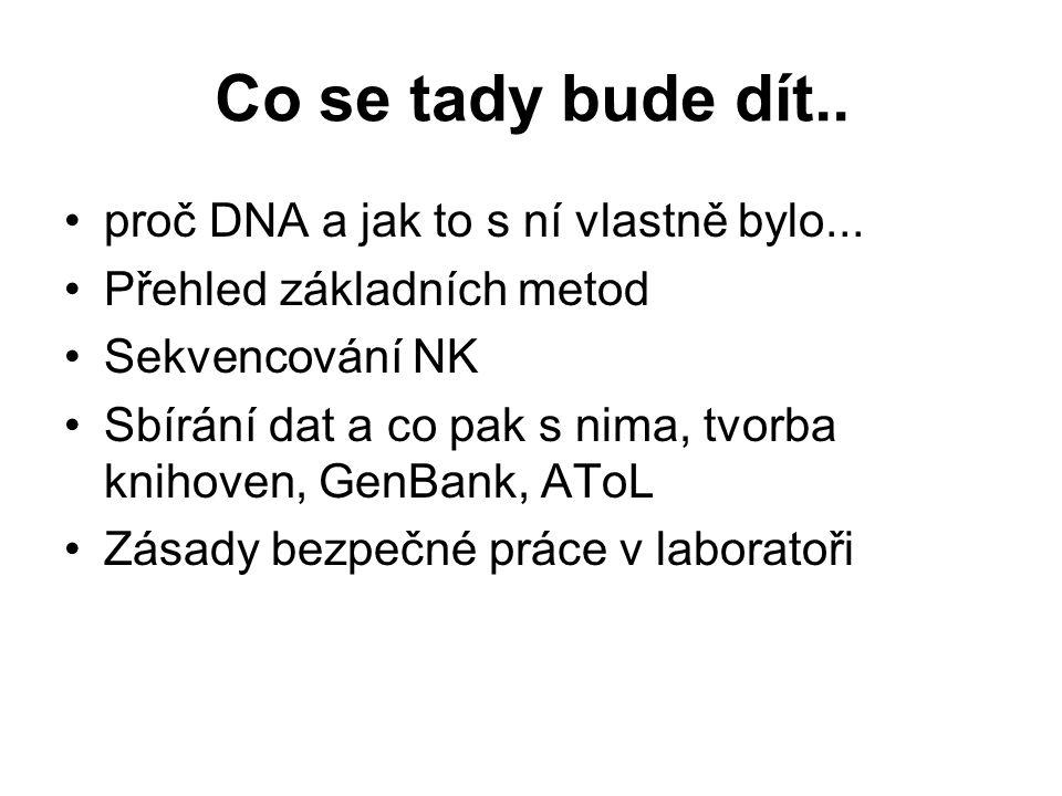 Co se tady bude dít.. proč DNA a jak to s ní vlastně bylo... Přehled základních metod Sekvencování NK Sbírání dat a co pak s nima, tvorba knihoven, Ge