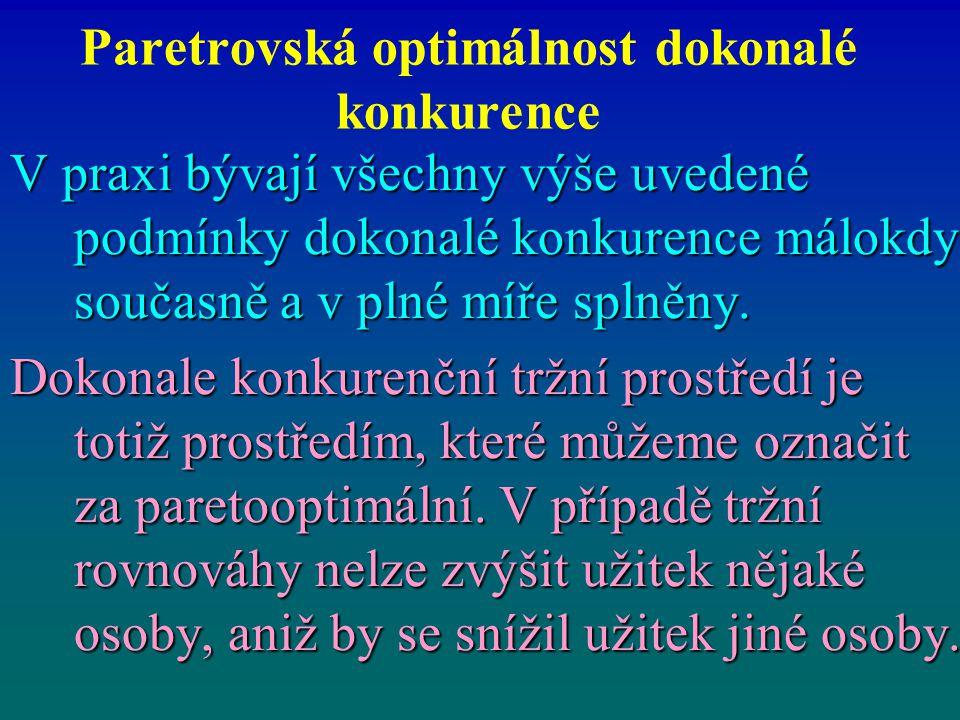 Paretrovská optimálnost dokonalé konkurence V praxi bývají všechny výše uvedené podmínky dokonalé konkurence málokdy současně a v plné míře splněny. D