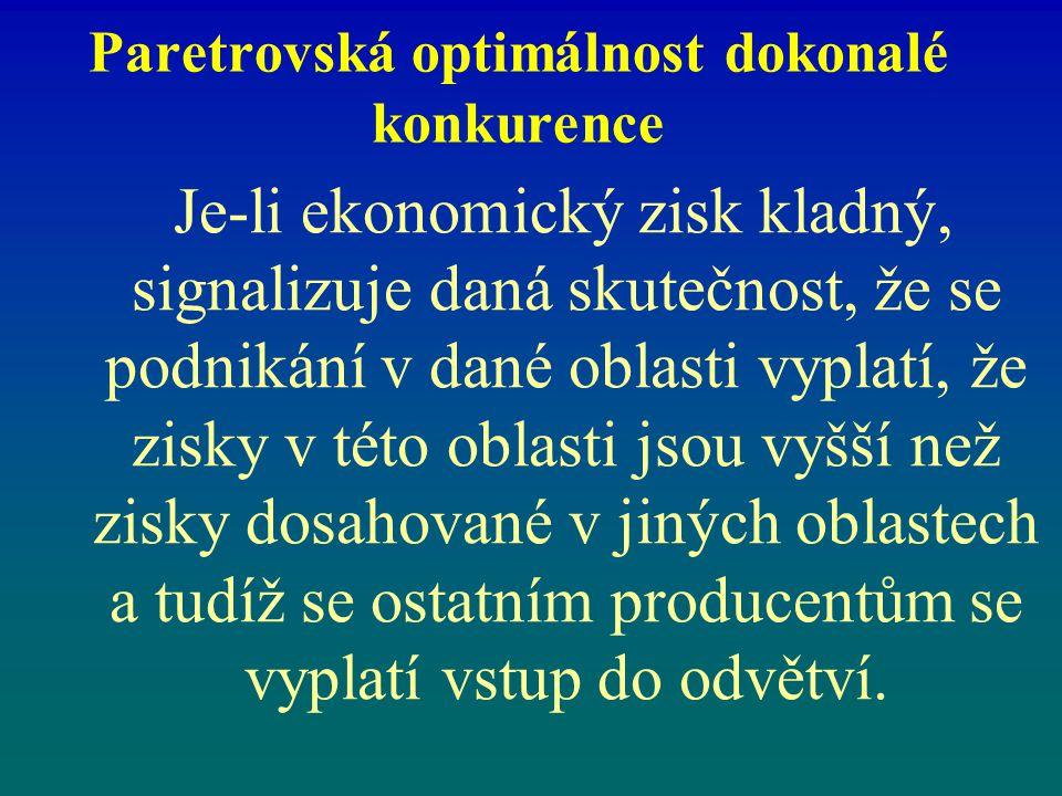 Paretrovská optimálnost dokonalé konkurence Je-li ekonomický zisk kladný, signalizuje daná skutečnost, že se podnikání v dané oblasti vyplatí, že zisk