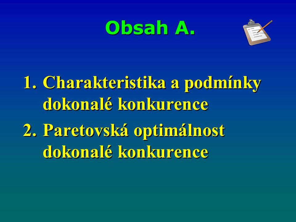 Obsah A. 1.Charakteristika a podmínky dokonalé konkurence 2.Paretovská optimálnost dokonalé konkurence 1.Charakteristika a podmínky dokonalé konkurenc