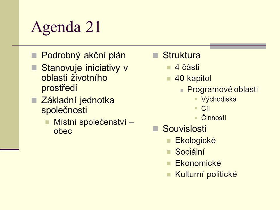 Agenda 21 Podrobný akční plán Stanovuje iniciativy v oblasti životního prostředí Základní jednotka společnosti Místní společenství – obec Struktura 4