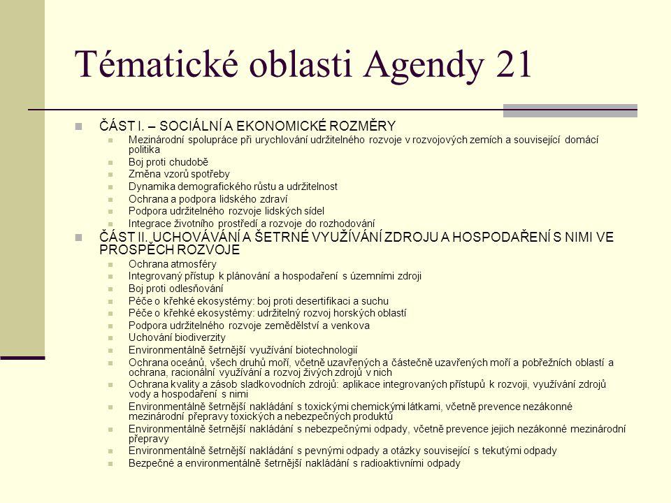 Tématické oblasti Agendy 21 ČÁST I. – SOCIÁLNÍ A EKONOMICKÉ ROZMĚRY Mezinárodní spolupráce při urychlování udržitelného rozvoje v rozvojových zemích a