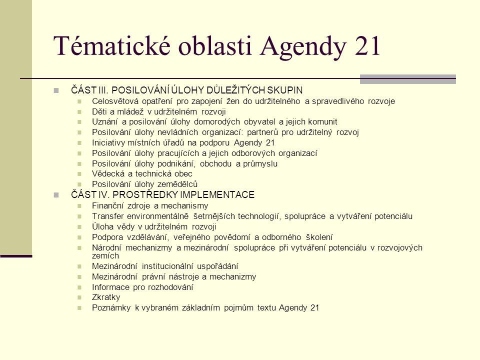 Tématické oblasti Agendy 21 ČÁST III. POSILOVÁNÍ ÚLOHY DŮLEŽITÝCH SKUPIN Celosvětová opatření pro zapojení žen do udržitelného a spravedlivého rozvoje