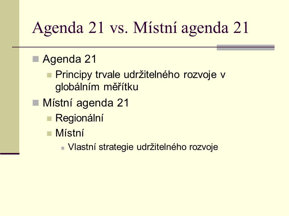 Agenda 21 vs. Místní agenda 21 Agenda 21 Principy trvale udržitelného rozvoje v globálním měřítku Místní agenda 21 Regionální Místní Vlastní strategie